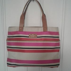 Kate Spade New York canvas and leather tote